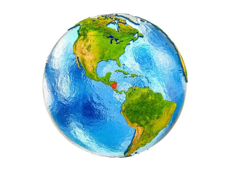 Kaart van geïsoleerd Nicaragua op 3D Aarde royalty-vrije stock foto's