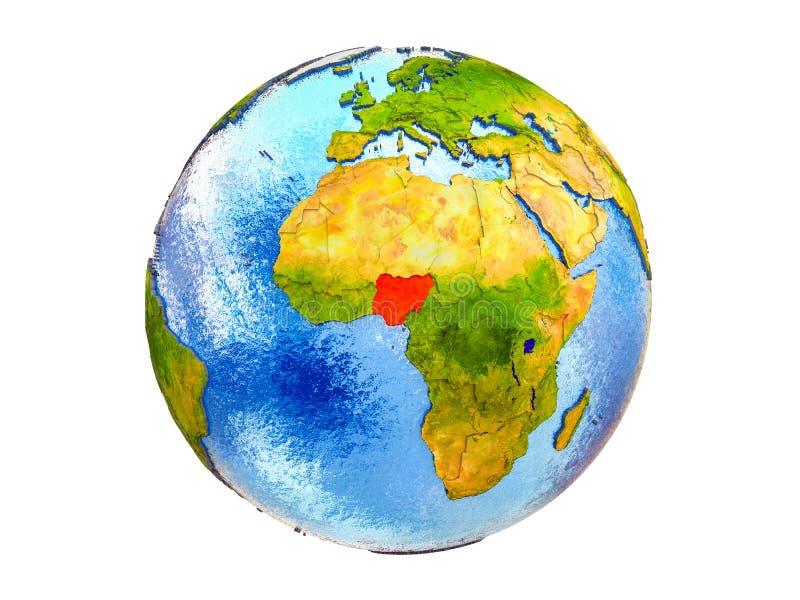 Kaart van geïsoleerd Nigeria op 3D Aarde stock foto's