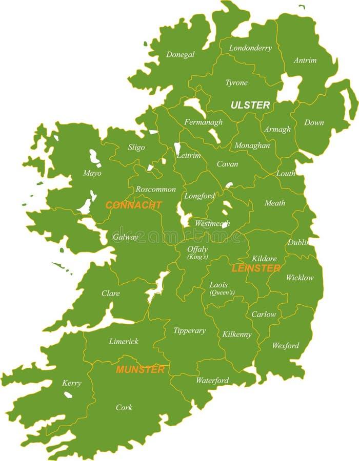 Kaart van geheel Ierland. royalty-vrije illustratie