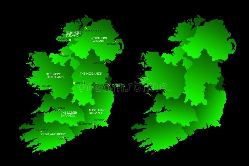 Kaart van geheel Ierland met gebieden vector illustratie