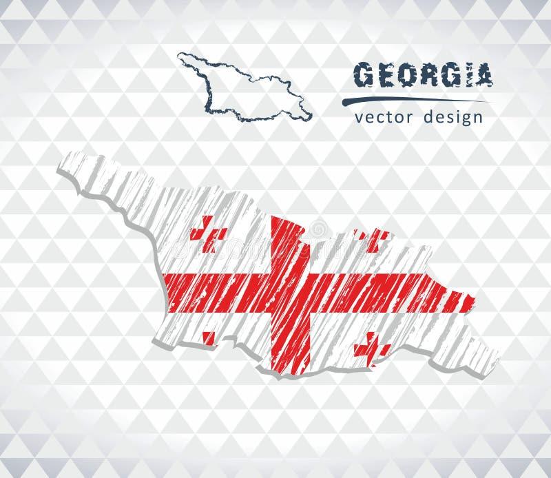 Kaart van Georgië met de hand getrokken binnen kaart van de schetspen Vector illustratie royalty-vrije illustratie