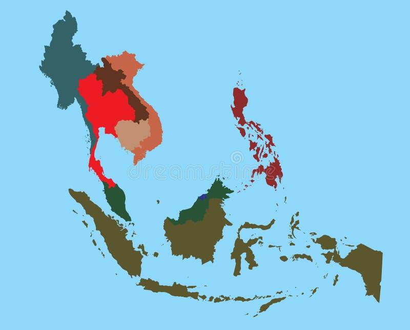 Kaart van gespleten de kleurenland van Zuidoost-Azië stock illustratie