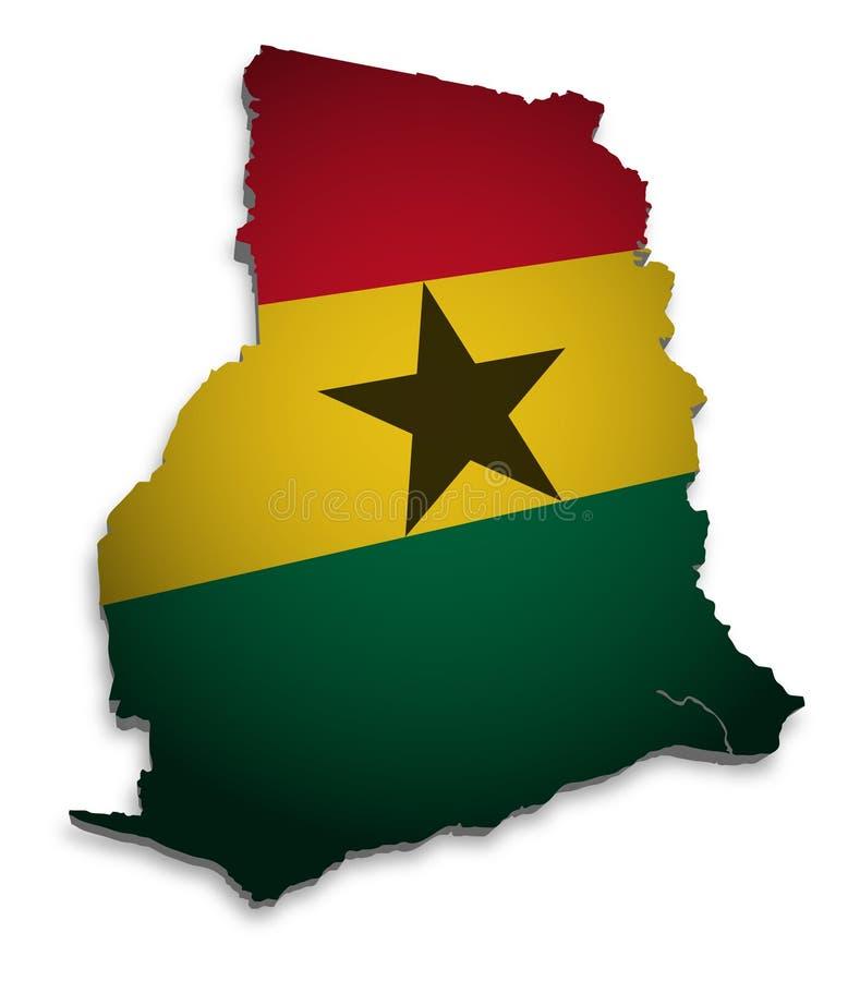 Kaart van Ghana stock illustratie