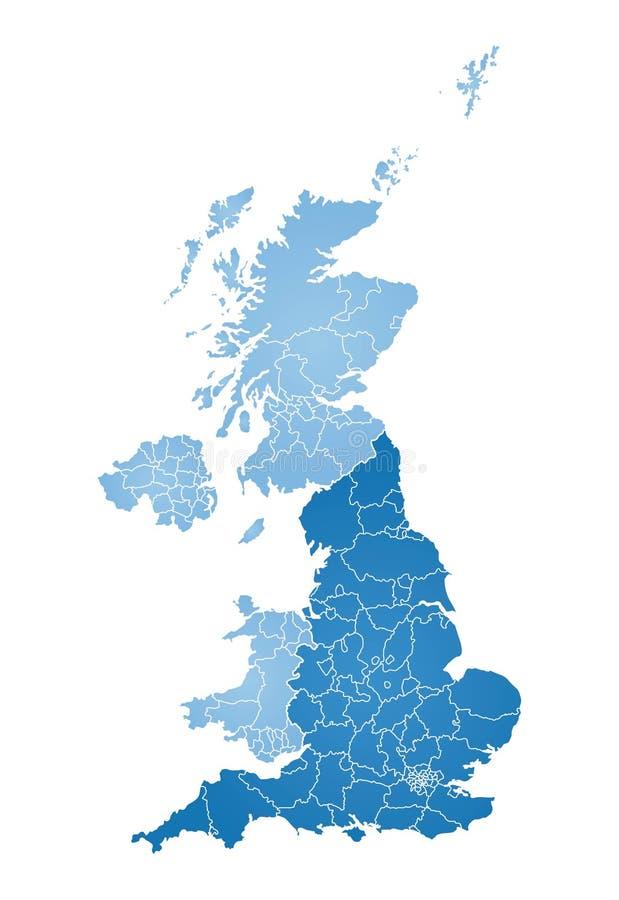 Kaart van Groot-Brittannië stock illustratie