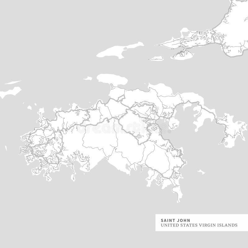 Kaart van Heilige John Island vector illustratie