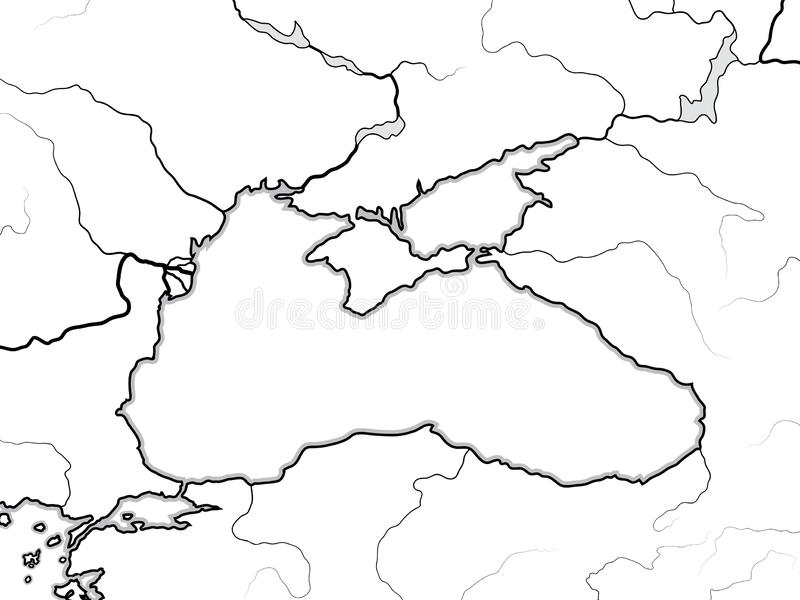 Kaart van het bassin van de ZWARTE ZEE: De Zwarte Zee, het Overzees van Azov, de Krim & circum-Pontic landen Geografische grafiek stock illustratie