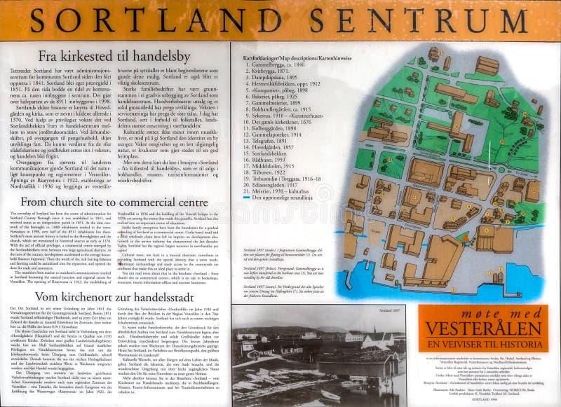 Kaart van het centrum van Sortland royalty-vrije stock fotografie