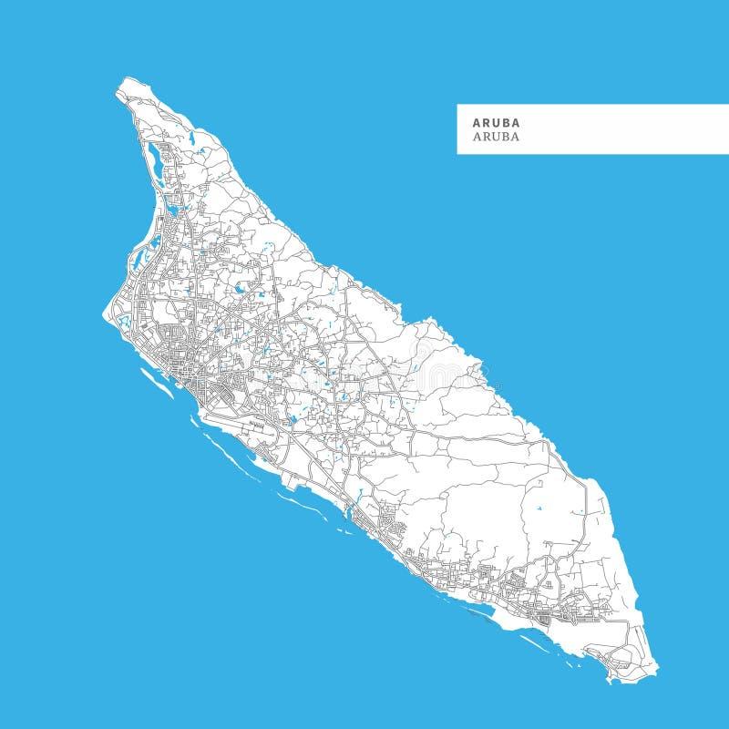 Kaart van het Eiland van Aruba royalty-vrije illustratie