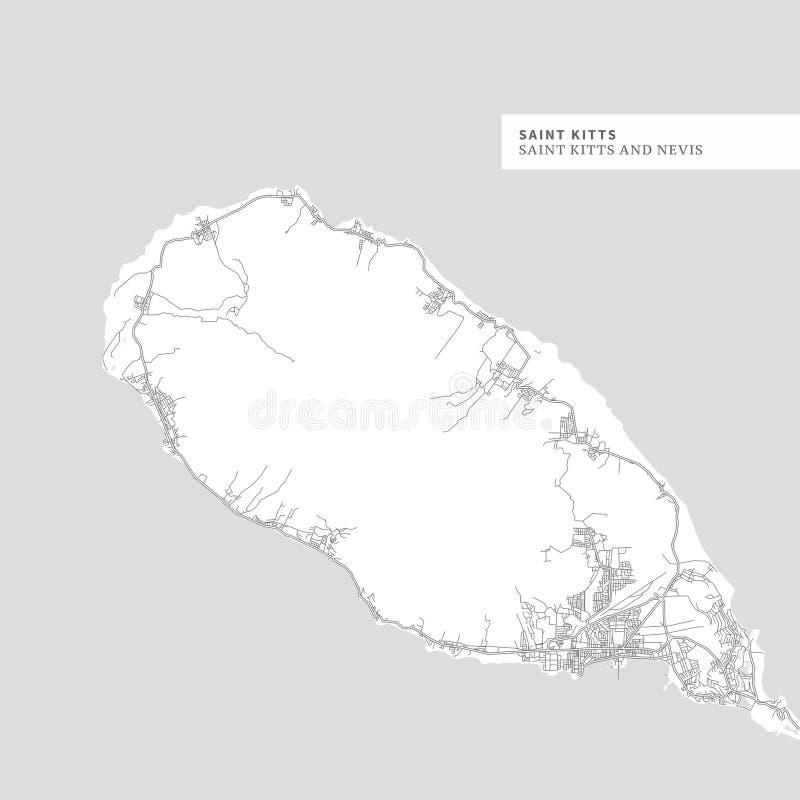 Kaart van het Eiland van Heilige Kitts stock illustratie