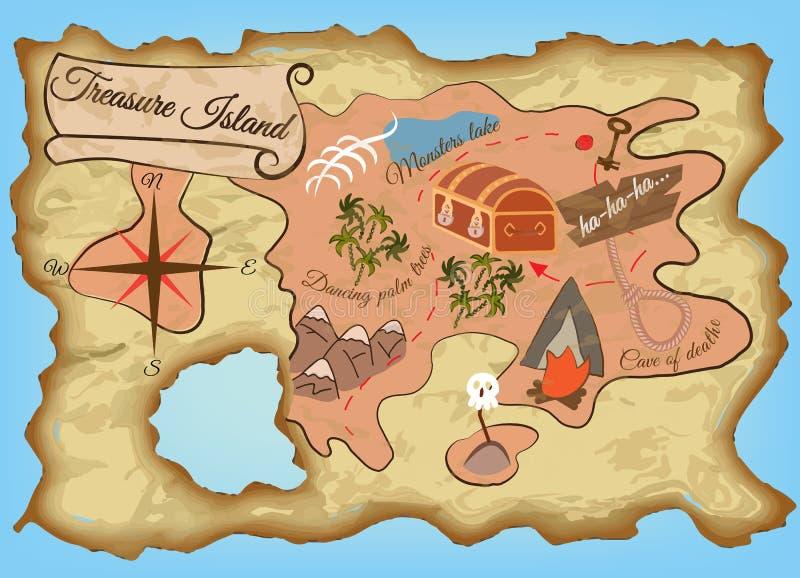 Kaart van het Eiland van de Schat royalty-vrije illustratie