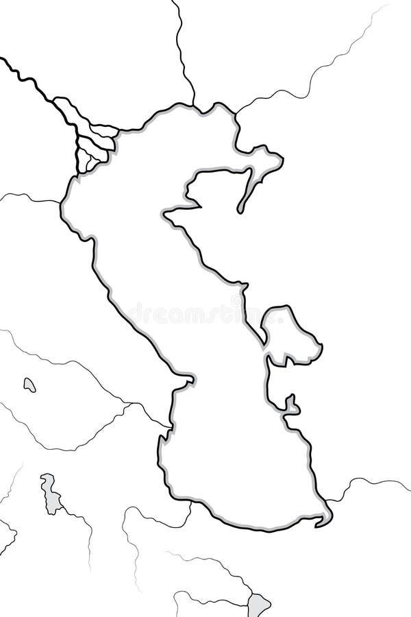 Kaart van het KASPISCHE OVERZEESE bassin: Circum-Kaspisch Gebied ( Azerbaïdjan, Iran, Turkestan) Geografische grafiek stock illustratie