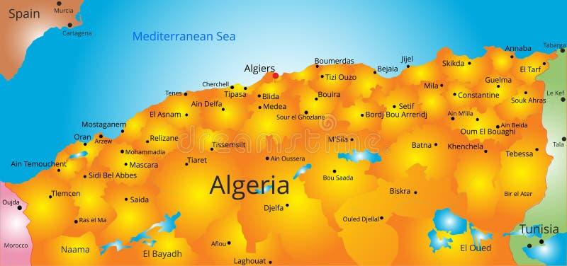 Kaart van het land van Algerije vector illustratie