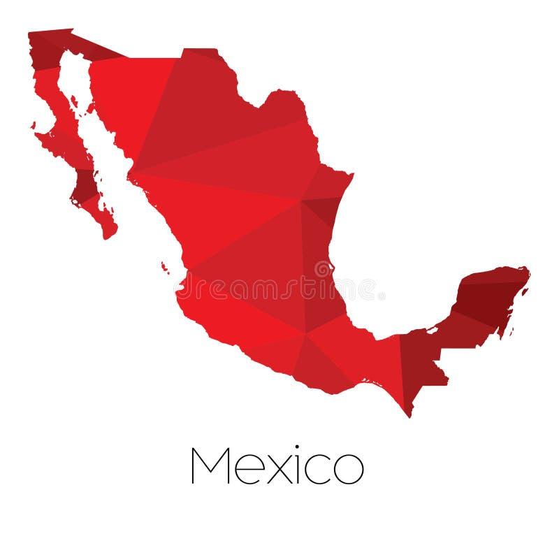Kaart van het land van Mexico stock illustratie