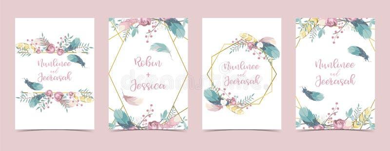 Kaart van het meetkunde de roze gouden huwelijk met roze, blad, lint, kroon, veer en kader royalty-vrije illustratie