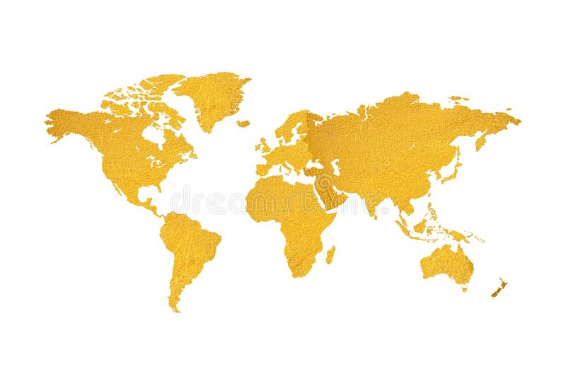 Kaart van het ontwerp van de wereld gouden textuur op witte achtergrond stock illustratie