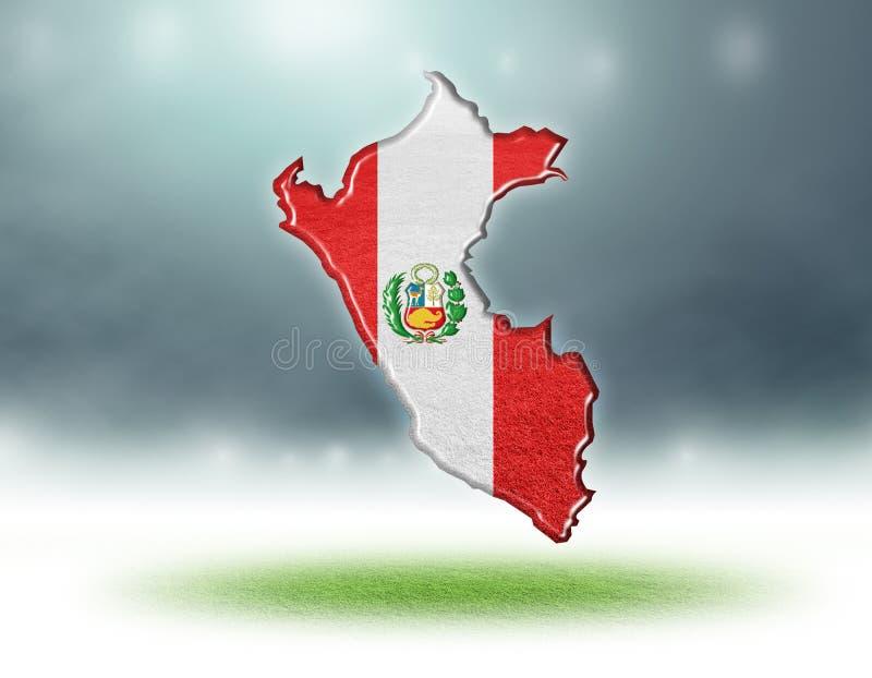 Kaart van het ontwerp van Peru met grastextuur van voetbalgebieden stock afbeeldingen