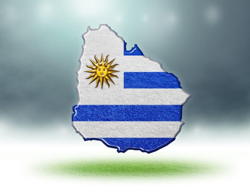 Kaart van het ontwerp van Uruguay met grastextuur van voetbalgebieden royalty-vrije stock afbeelding