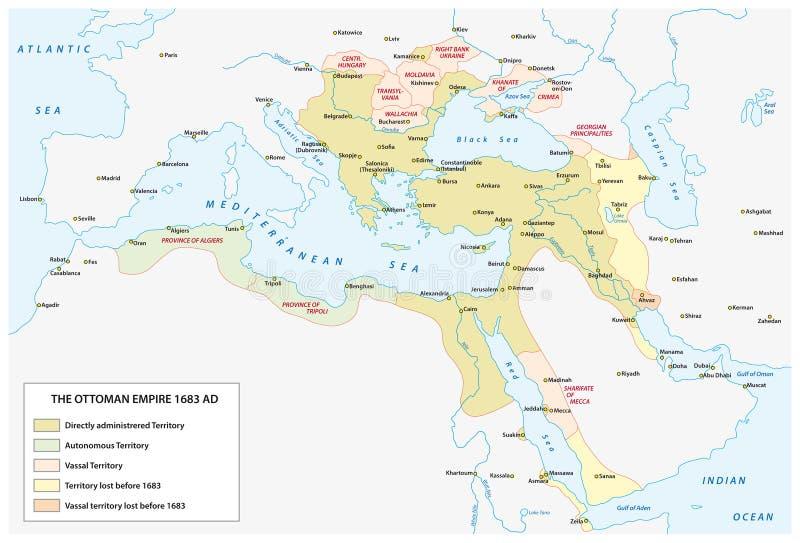 Kaart van het Ottomaneimperium op het tijdstip van de grootste uitbreiding stock illustratie