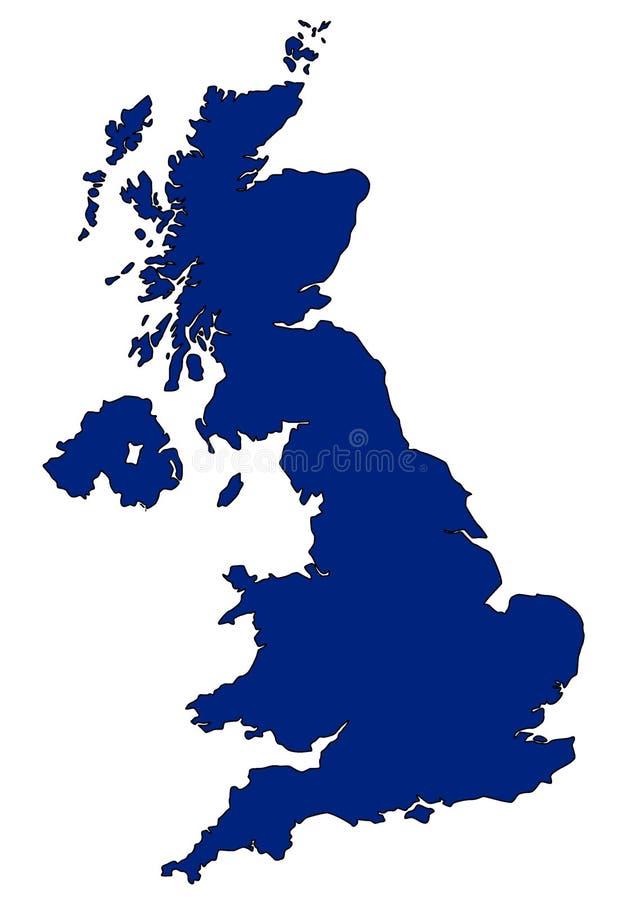 Kaart van het UK in blauw stock illustratie