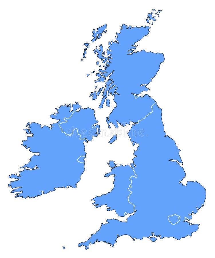 Kaart van het Verenigd Koninkrijk royalty-vrije illustratie