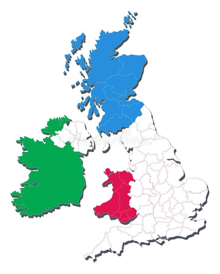 Kaart van het Verenigd Koninkrijk met inbegrip van Landen en Coun vector illustratie