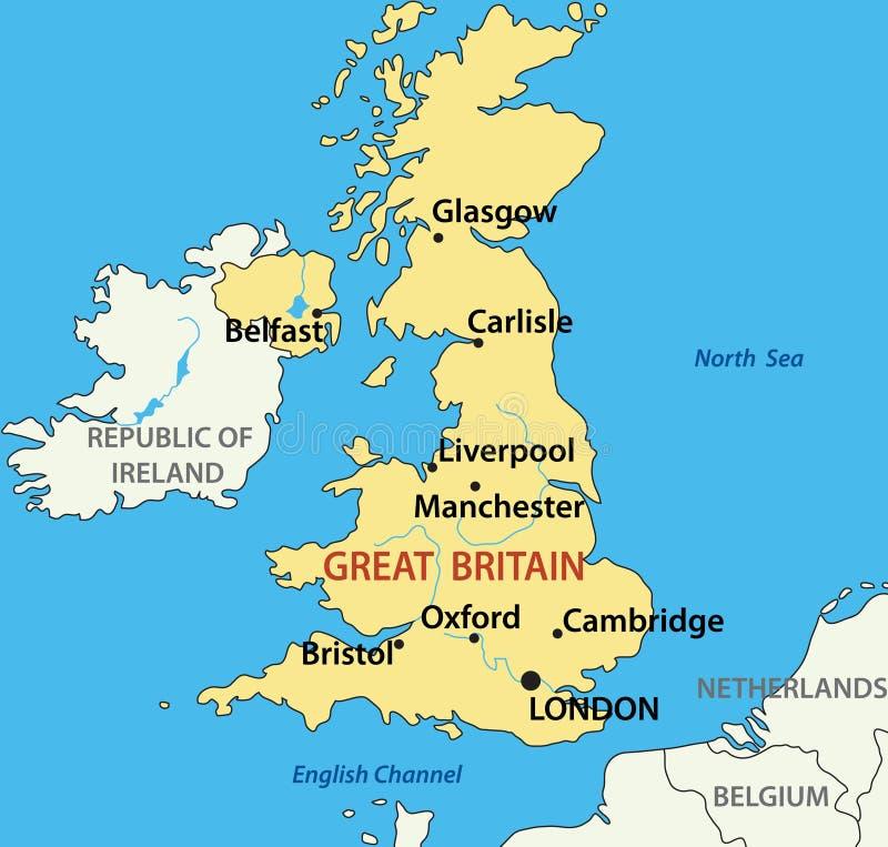 Kaart van het Verenigd Koninkrijk van Groot-Brittannië - eps vector illustratie
