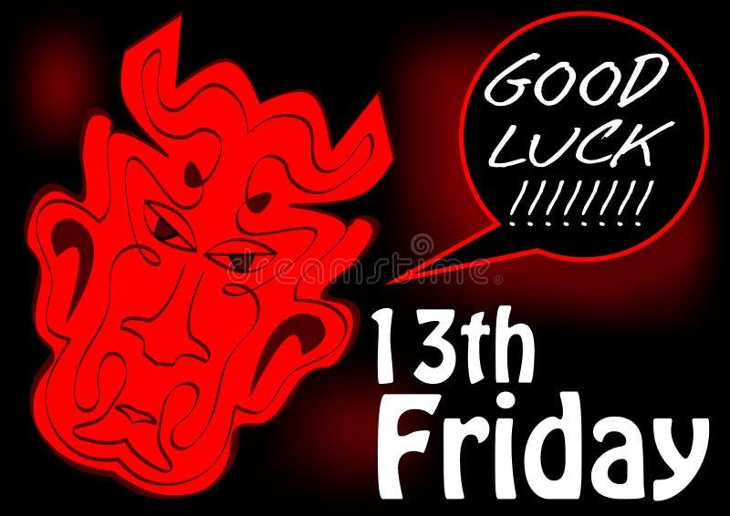 Kaart van het vrijdag de 13de, goede geluk met rood duivelshoofd Het rode trekken op zwarte achtergrond stock illustratie