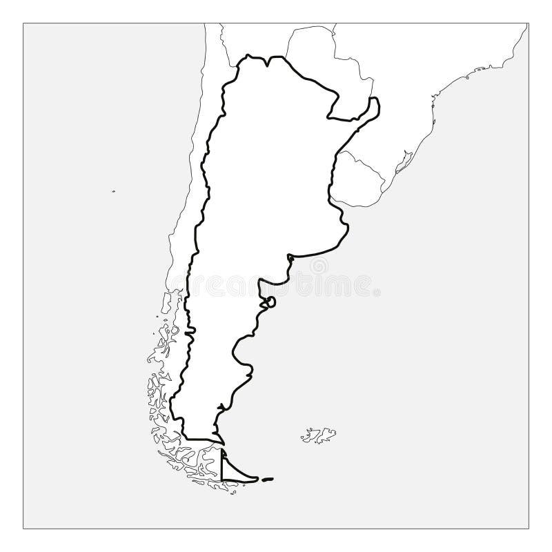 Kaart van het zwarte dikke die overzicht van Argentinië met buurlanden wordt benadrukt royalty-vrije illustratie