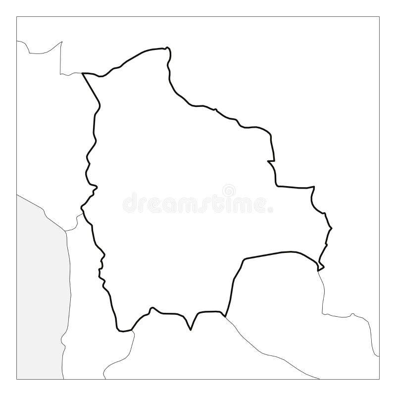 Kaart van het zwarte dikke die overzicht van Bolivië met buurlanden wordt benadrukt vector illustratie