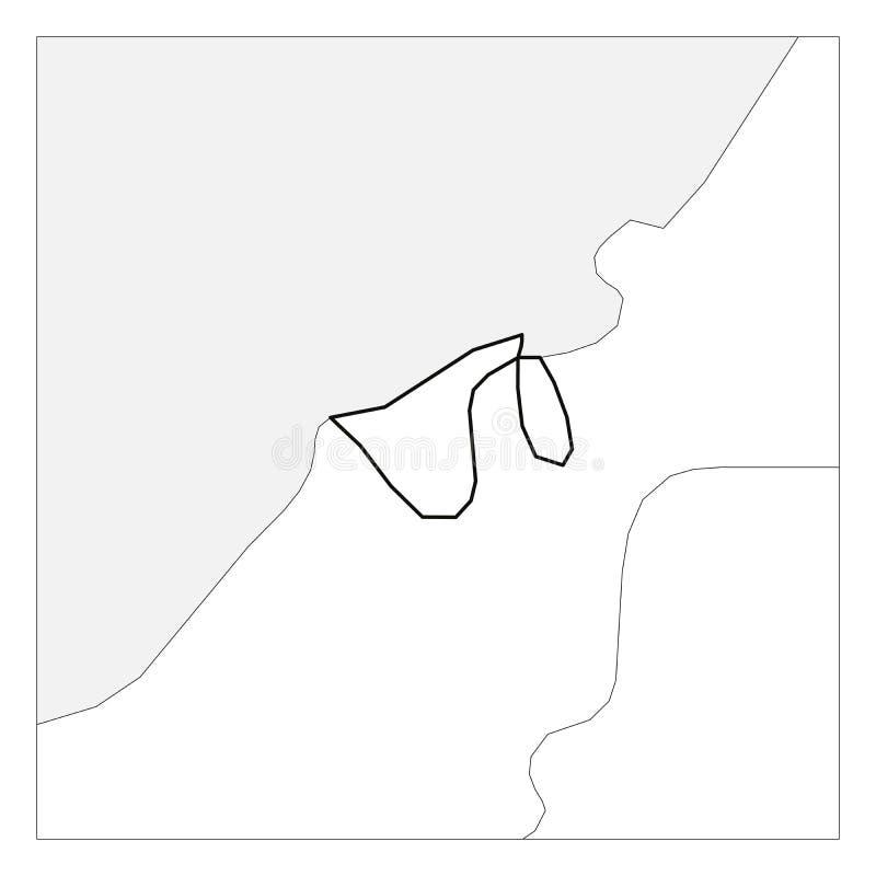 Kaart van het zwarte dikke die overzicht van Brunei met buurlanden wordt benadrukt stock illustratie