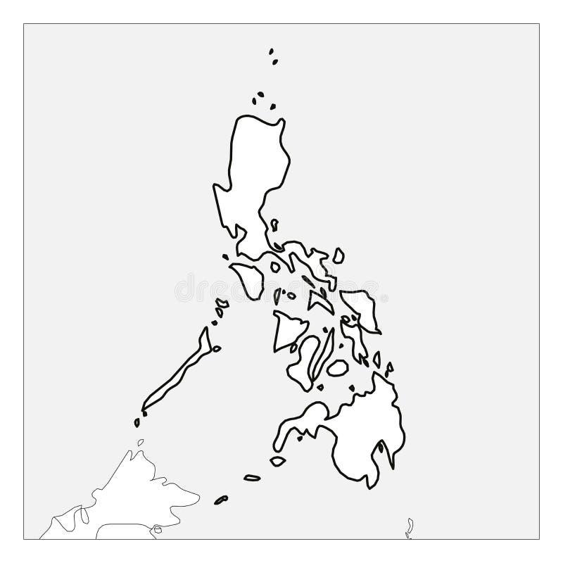 Kaart van het zwarte dikke die overzicht van Filippijnen met buurlanden wordt benadrukt stock illustratie