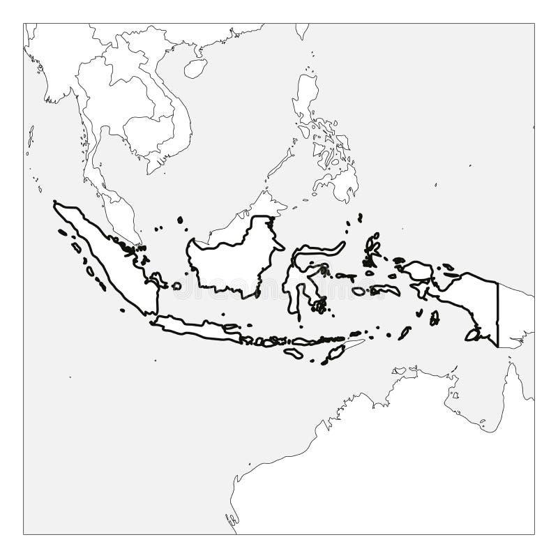 Kaart van het zwarte dikke die overzicht van Indonesië met buurlanden wordt benadrukt stock illustratie
