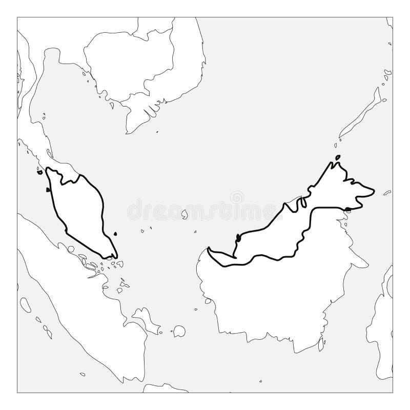 Kaart van het zwarte dikke die overzicht van Maleisië met buurlanden wordt benadrukt royalty-vrije illustratie