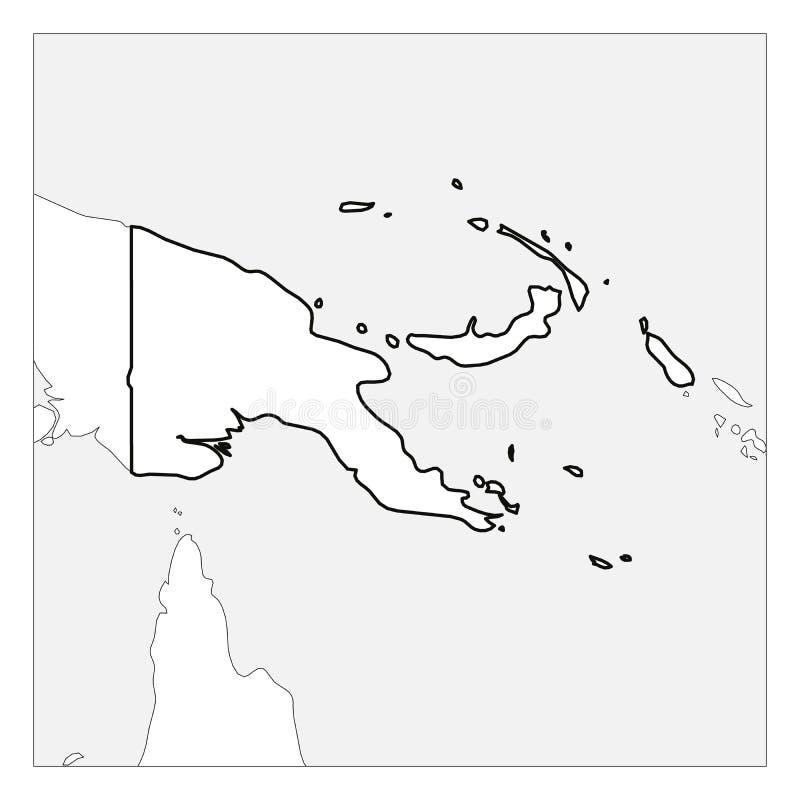 Kaart van het zwarte dikke die overzicht van Papoea-Nieuw-Guinea met buurlanden wordt benadrukt royalty-vrije illustratie