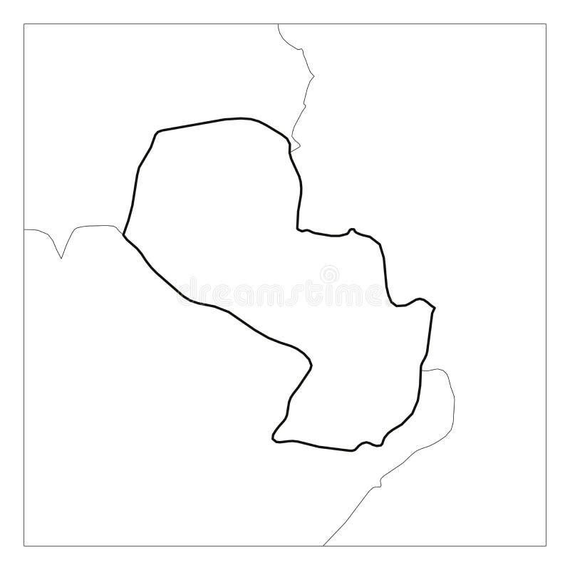 Kaart van het zwarte dikke die overzicht van Paraguay met buurlanden wordt benadrukt royalty-vrije illustratie