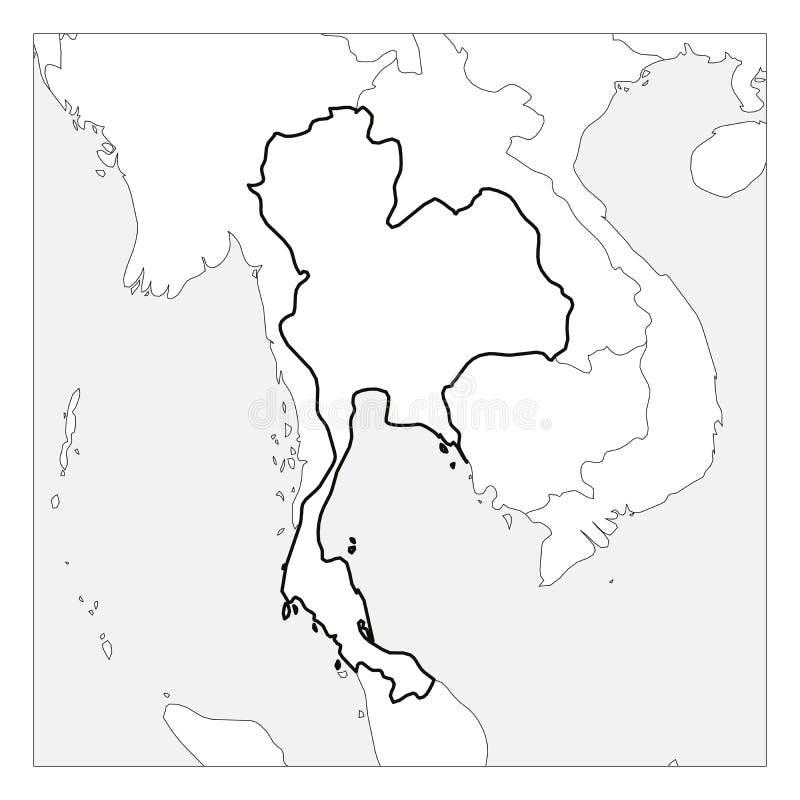 Kaart van het zwarte dikke die overzicht van Thailand met buurlanden wordt benadrukt royalty-vrije illustratie