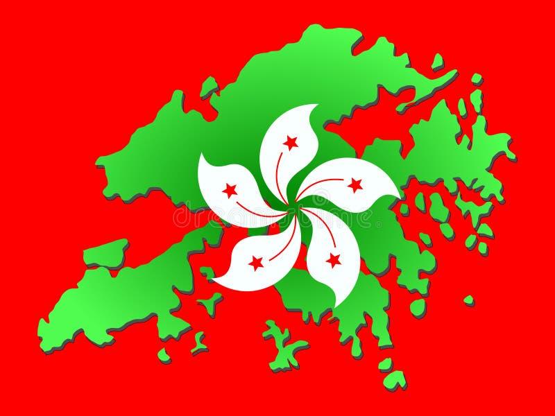 Kaart van Hongkong royalty-vrije illustratie
