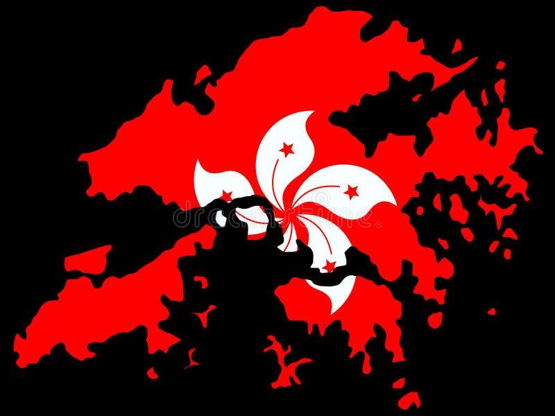 Kaart van Hongkong en vlag royalty-vrije illustratie