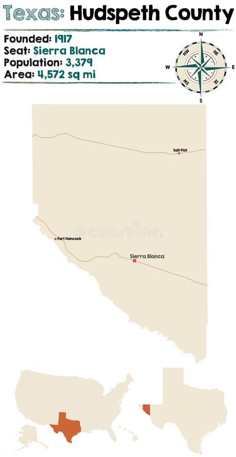 Kaart van Hudspeth-Provincie in Texas stock illustratie