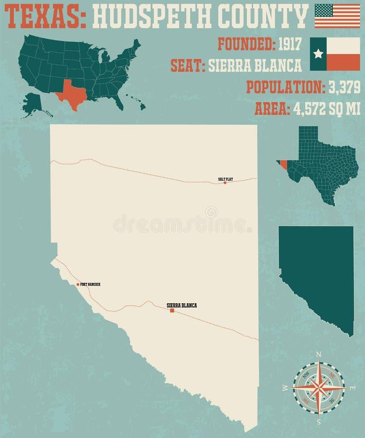 Kaart van Hudspeth-Provincie in Texas vector illustratie