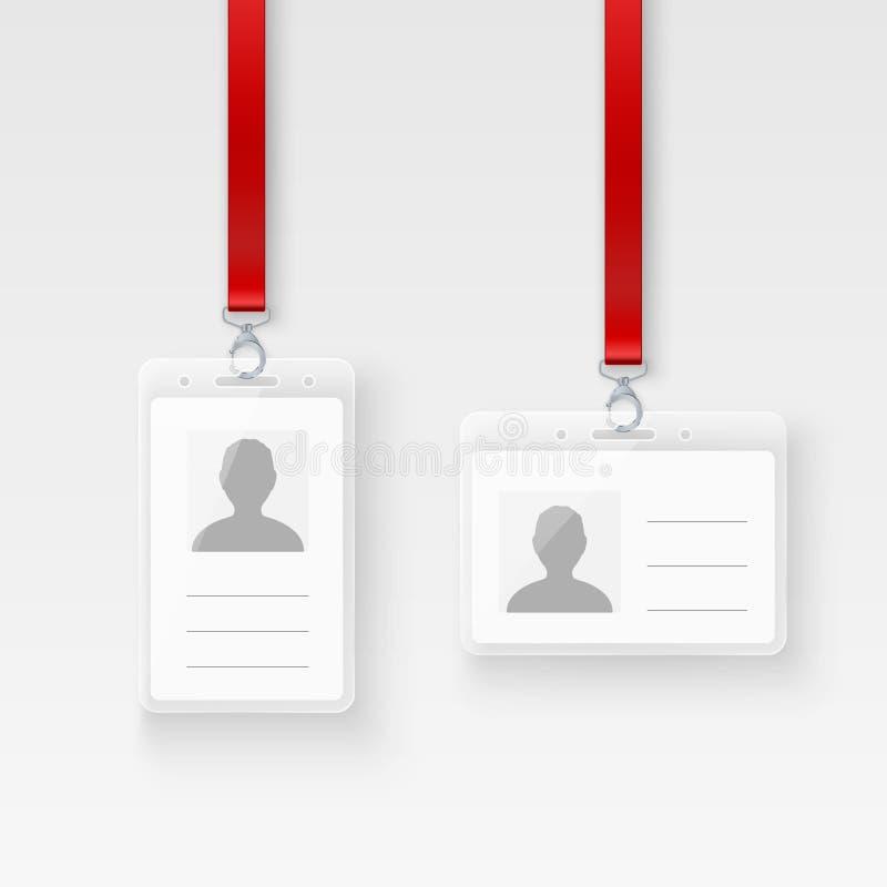 Kaart van identificatie de persoonlijke plastic identiteitskaart Leeg identiteitskaart-kentekenontwerp met greep en sleutelkoord  vector illustratie