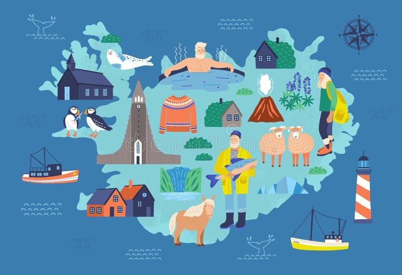 Kaart van IJsland met toeristische oriëntatiepunten en nationale symbolen - vuurtoren, schapen, visser, mens in hete Ijslandse po royalty-vrije illustratie
