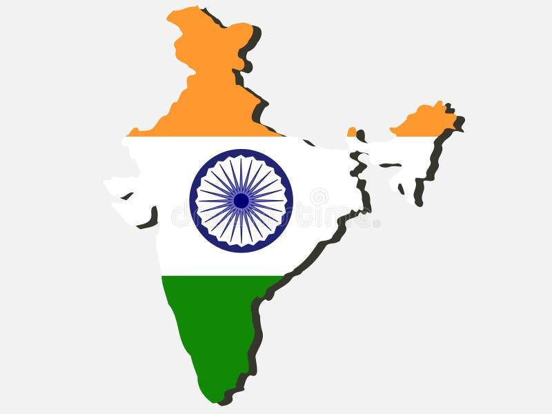 Kaart van India stock illustratie