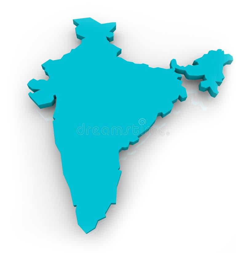 Kaart van India - Blauw stock illustratie