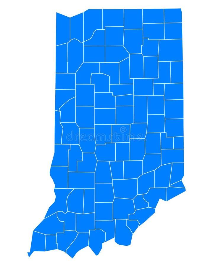 Kaart van Indiana royalty-vrije illustratie