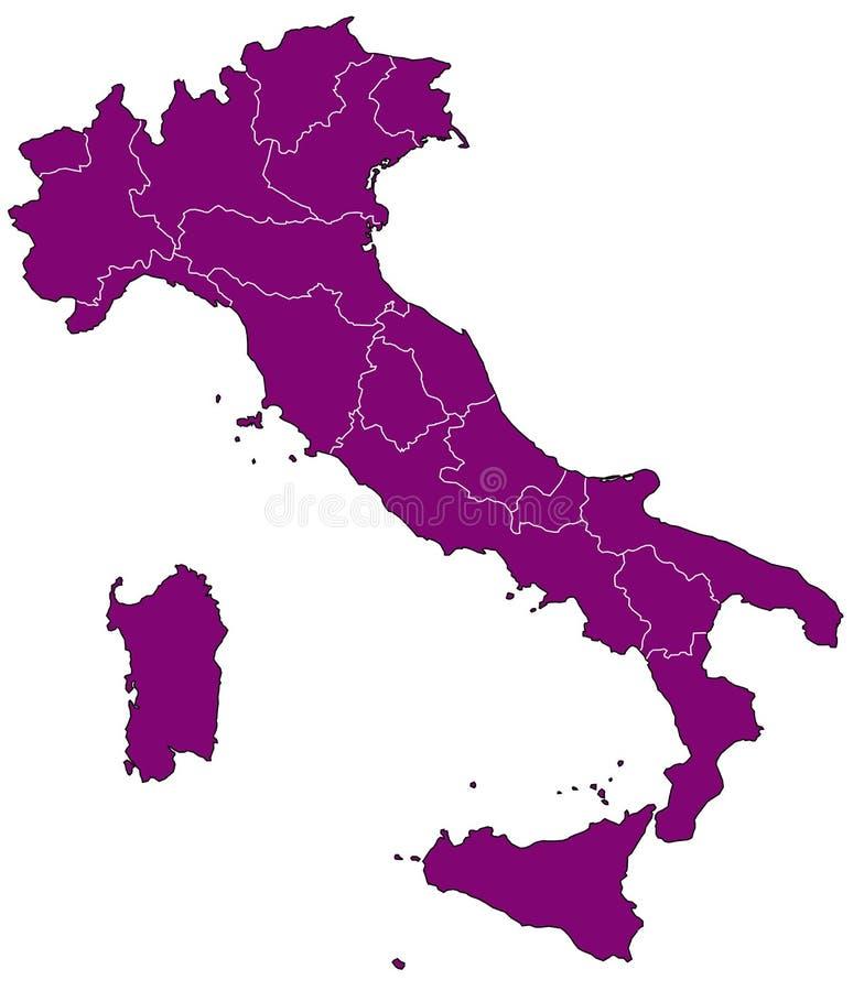 Kaart van Italië vector illustratie