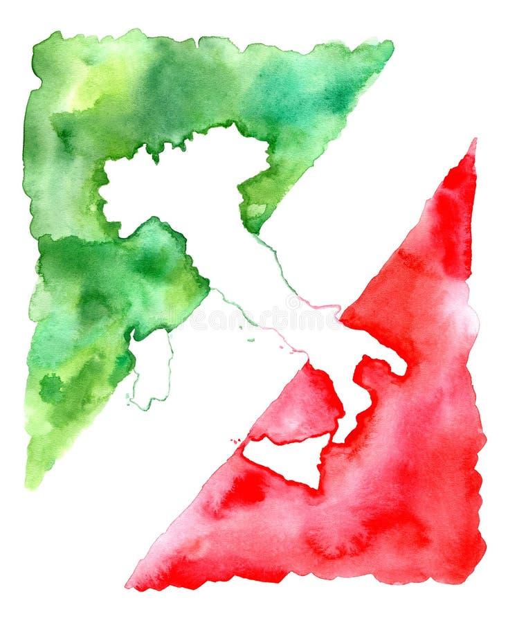 Kaart van Italië Abstracte vlag royalty-vrije illustratie