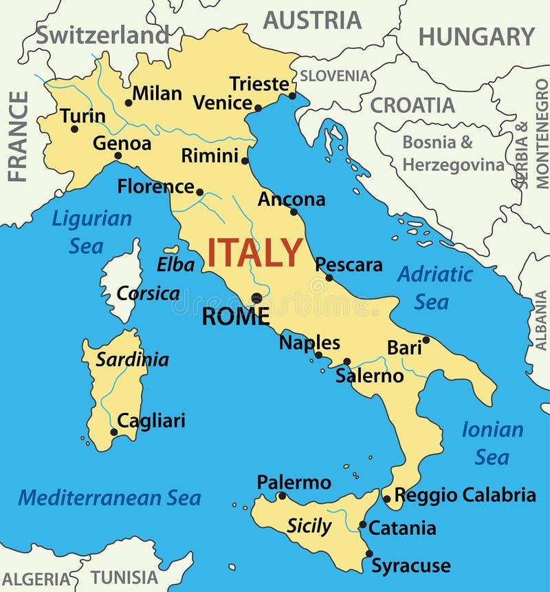 Kaart van Italië - illustratie