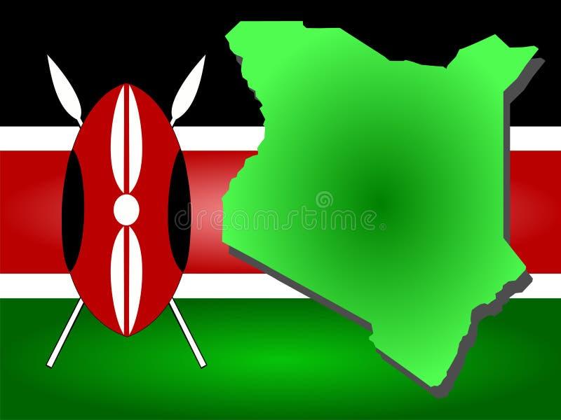Kaart van Kenia stock illustratie