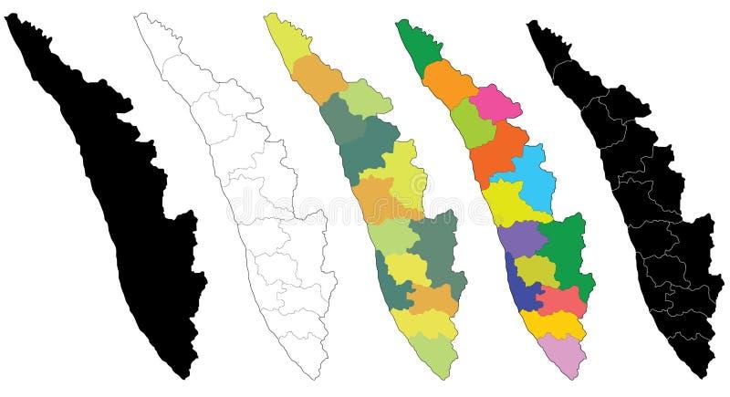 Kaart van Kerala vector illustratie